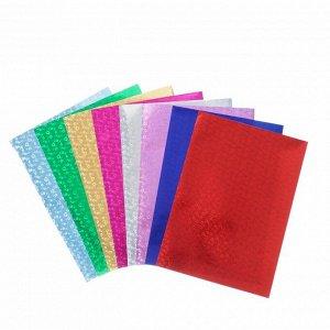 """Набор цветной голографической бумаги """"ЦВЕТЫ"""", А4,  8 шт, микс 80 г/м2, 21х29,7 см"""