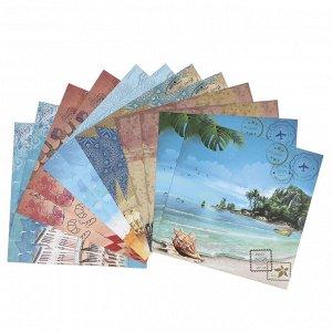 """Набор цветной бумаги """"Отпуск"""" 12 листов 295 х 295 мм, плотность бумаги 150 гр/м2."""