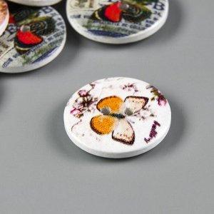 """Набор пуговиц декоративных дерево """"Бабочки"""" набор 15 шт МИКС 2,3х2,3 см"""