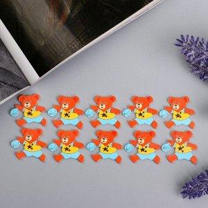 """Пуговицы дерево для творчества 2 прокола """"Мишка в футболке со звездой"""" набор 10 шт 3х2,7 см   456893"""