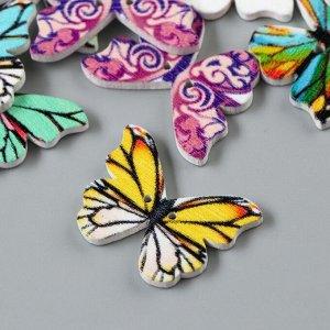"""Набор пуговиц декоративных дерево """"Яркие бабочки"""" набор 15 шт МИКС 1,9х2,5 см"""