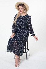 Платье Пелагея №1.Цвет:синий/горох