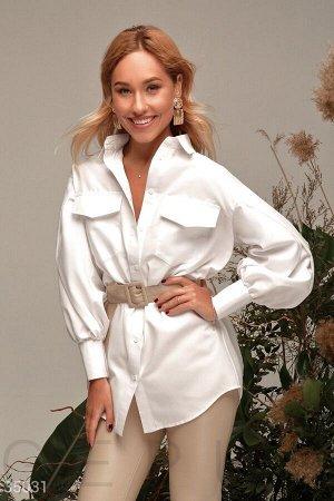 Белая рубашка с объемными рукавами
