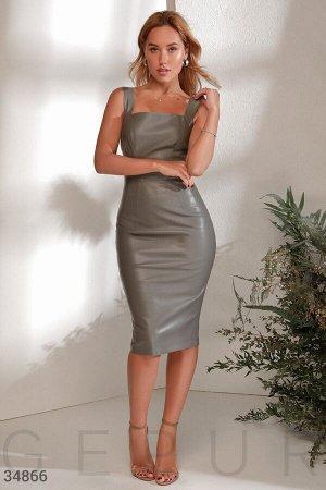 Кожаный сарафан серого цвета