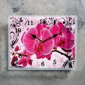 """Часы-картина настенные, серия: Цветы, """"Розовые орхидеи с узором"""", 20х25  см, микс"""