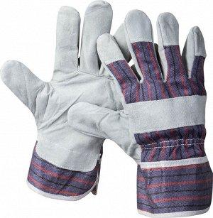 """Перчатки STAYER """"MASTER"""" рабочие комбинированные кожаные из спилка"""