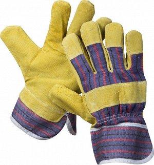 """Перчатки STAYER """"MASTER"""" рабочие комбинированные кожаные из спилка с тиснением"""