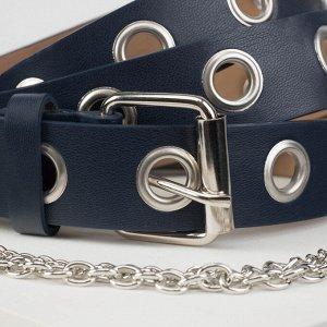 Ремень женский, винт, гладкий, пряжка металл, цепь, цвет синий