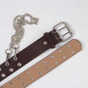 Ремень женский, ширина - 4 см, пряжка металл, цепь, цвет коричневый