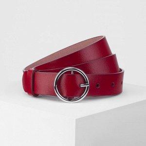 Ремень женский, винт, матовый, пряжка тёмный металл, цвет красный