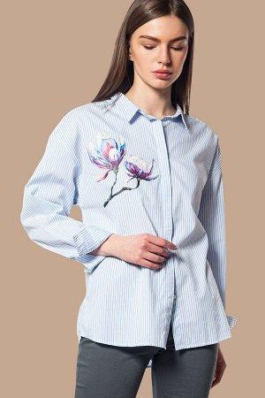 Блузка в полоску с принтом, D29.658