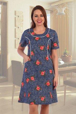 Платье 518 Материал: кулирка; Состав: 100% хлопок; Производитель: Натали Летнее женское платье из кулирки. Короткие рукава, по бокам имеются карманы, несколько вариантов расцветки, общая длина платья