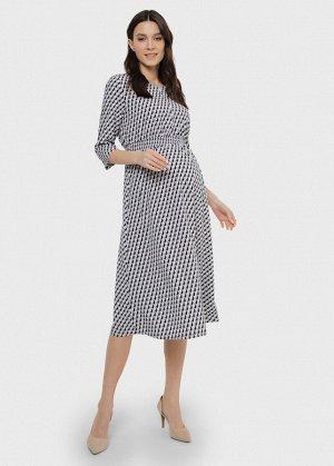 """Платье """"Альба"""" для беременных и кормящих молочный/графика"""