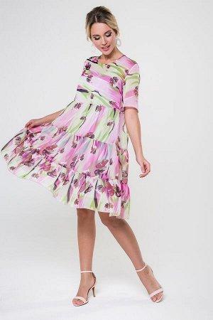 Платье Элис №11.Цвет:сиреневый/зеленый