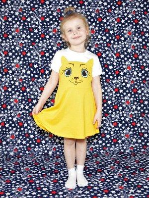 Платье Кошка желтое.короткий рукав.