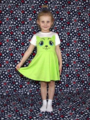 Платье Кошка салатовое.короткий рукав.