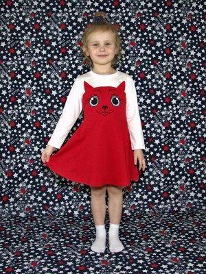 Платье Кошка красное.длинный рукав.