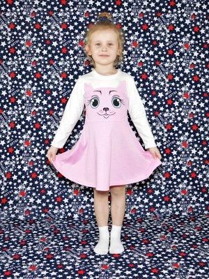 Платье Кошка розовое.длинный рукав.