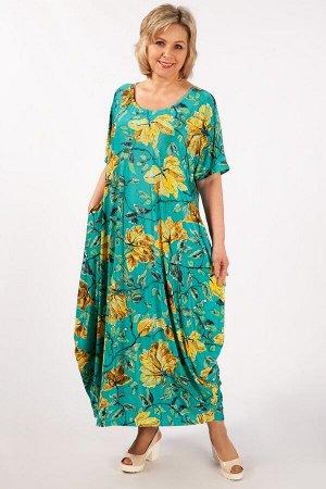 Платье Вероника-2 листья желтые