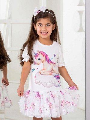 """Платье с принтом """"Единорожка на облаке"""" с молочной юбочкой, короткий рукав"""