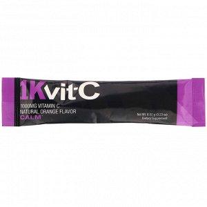 1Kvit-C, Витамин C, спокойствие, шипучая смесь для приготовления напитка, натуральный апельсиновый вкус, 1000 мг, 30 пакетиков по 6,5 г (0,23 унции)