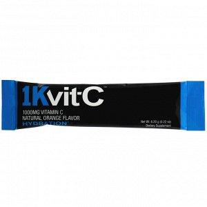 1Kvit-C, Витамин C, поддержание водного баланса, шипучая смесь для приготовления напитка, натуральный апельсиновый вкус, 1000 мг, 30 пакетиков по 6,2 г (0,22 унции)