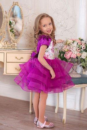Платье Очень пышное нарядное платье из атласа, фатина, сетки. Полностью на хлопковом подкладе. Многослойный подъюбник и бант сзади на поясе. Молния по спинке.