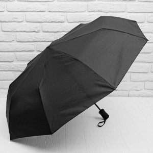Зонт полуавтоматический «Однотонный», 3 сложения, 9 спиц, R = 50 см, цвет чёрный 4233241