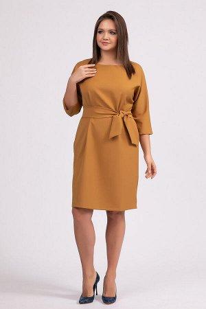 Платье Составп/э 60%, вискоза 35%, эластан 5%. Ткань: плательная, однотонная. Платье свободного покроя, с цельнокроеным рукавом, в боковых швах внутренние карманы. К платью прилагается пояс. Рукав ¾.