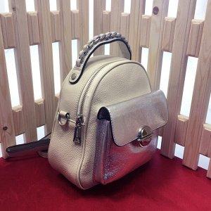 Модная сумка-рюкзак Weekend из дорогой мелкозернистой натуральной кожи цвета шампань.