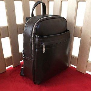 Стильный рюкзак-трансформер Megapolis формата А4 из натуральной кожи шоколадного цвета.