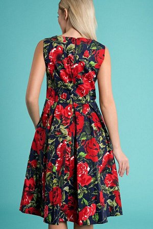 Платье Мирэль розы на синем (П-126-3)