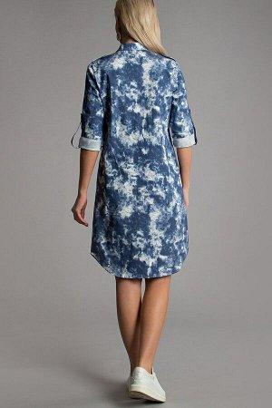 Платье-рубашка с накладными карманами (П-110-4)