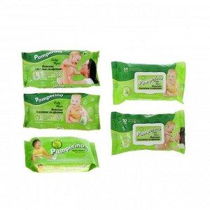 Влажные салфетки Pamperino детские, с алоэ вера, 50 шт. микс