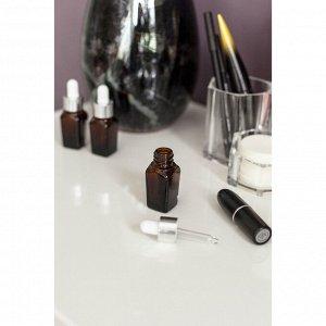 Бутылочка для хранения с пипеткой, 10 мл, цвет коричневый/белый