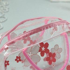 Косметичка ПВХ, отдел на молнии, 2 ручки, цвет розовый