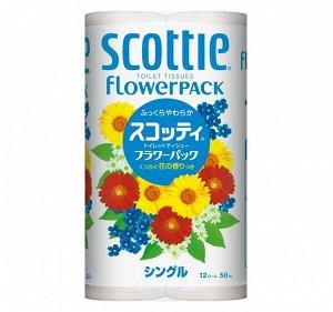 """Туалетная бумага Crecia """"Scottie FlowerPACK"""", однослойная 12 рул (50м) / 8"""