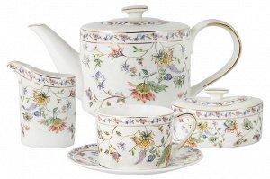 Чайный сервиз Флора белый, 6 персон, 15 предметов