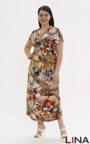Бежевый Женственное длинное платье с короткими спущенными рукавами, расширенной проймой и глубокой V-образной горловиной с имитацией запаха. Фасон модели с удобной резинкой по линии талии, что достато