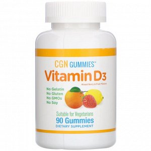 California Gold Nutrition, Vitamin D3 Gummies, No Gelatin, No Gluten, Mixed Berry & Fruit Flavors, 2,000 IU Per Serving, 90 Gumm