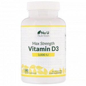 Nu U Nutrition, Витамин D3 максимальной активности, 3000 МЕ, 180 мягких таблеток