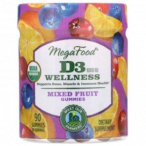 MegaFood, D3 Wellness, Mixed Fruit Gummies, 1,000 IU, 90 Gummies