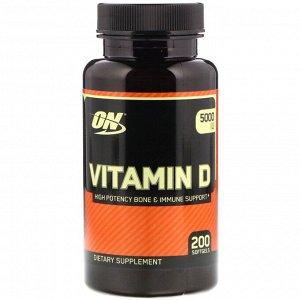 Optimum Nutrition, Vitamin D, 5,000 IU, 200 Softgels