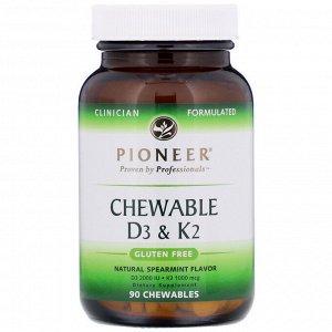 Pioneer Nutritional Formulas, Chewable D3 & K2, Natural Spearmint, 90 Chewables