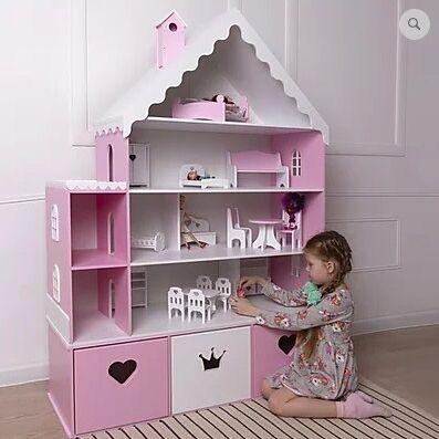 Кукольные домики и детская мебель, румбоксы и конструкторы   — Мебель для детской и кукольный домик (2 в 1) (из МДФ) — Шкафы и стеллажи