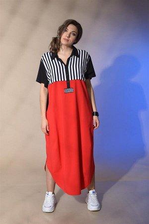 Платье Платье GRATTO 2061  Состав ткани: Вискоза-100%;  Рост: 170 см.  Платье свободного силуэта. Рукав втачной, короткий. Длина 18 см. Воротник рубашечный на стойке. Кокетка переда и спинки из отдел
