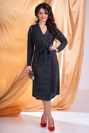 Платье Платье Мода Юрс 2541 темно-синий  Состав ткани: ПЭ-82%; Эластан-8%; Люрекс-10%;  Рост: 170 см.  Комфортное, но одновременно нарядное платье свободного кроя из мягкого трикотажного полотна с лю