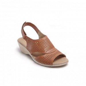 Туфли открытые летние женские, коричневый