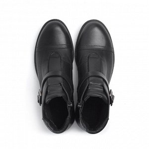 Ботинки демисезонные, черная кожа