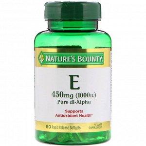 Nature&#x27 - s Bounty, Vitamin E, Pure Dl-Alpha, 450 mg (1,000 IU), 60 Rapid Release Softgels